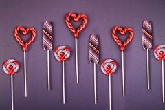 Many colorfull lollypops. stock images