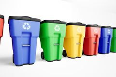 Many colorfull plastic garbage bins with recycling logo, staked on row. Isolated on white background vector illustration