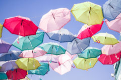 Many  colorfull umbrellas on sky. Horizontal photo, photo took in Moscow's market in Russia Royalty Free Stock Image