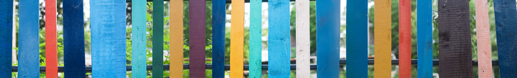 Many colors colored fence Stock Photo