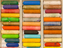 Many colors of crayons set for design, ideas, painting and drawing. Royalty Free Stock Photos