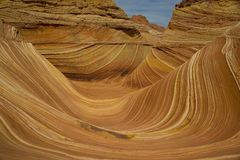 Layers of Sandstone part of the Wave. Many colors and layers of the Wave at Coyote Butts Utah/Arizona Stock Photos