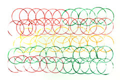 Many colors of overlapped circles on white Royalty Free Stock Photos