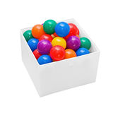 Many colour plastic balls in box royalty free stock photos