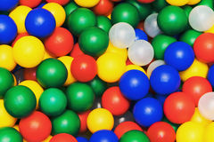 Many colour plastic balls from children`s small town Royalty Free Stock Image