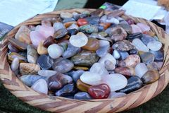 Many colour stones in a dish stock photography