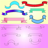 Many-coloured banners and drawn banners for text, cards, invitations, etc royalty free stock photo
