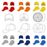 Many-coloured baseball, tennis cap outlined template. Many-coloured baseball, tennis cap vector illustration featured front, back, side, top, bottom on white vector illustration