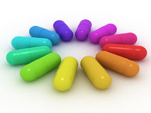 Many-coloured capsules Stock Photos