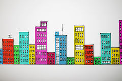 Many-coloured drawing cityscape Royalty Free Stock Image