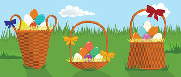 Many-Coloured Eggs. In the Basket Royalty Free Illustration