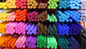 Many coloured felt-tips. Many colored felt pens for sales in a shelf Royalty Free Stock Photo