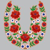 Many-coloured flower pattern in the shape of horseshoe. Many-coloured pattern in ukrainian style.Pattern contains red and white flowers with green leaves.Pattern stock illustration