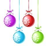 Many-coloured x-mas balls. 4 many-coloured x-mas balls vector illustration