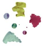 Many-coloured watercolour stains. Scan of many-coloured watercolour stains on white paper royalty free stock photos