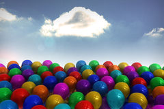Many colourful balloons sky background Royalty Free Stock Photography