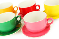 Many colourful cups on white background Royalty Free Stock Image