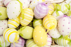 Colourful easter eggs in straw Stock Image
