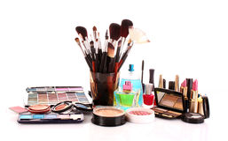 Many colourful woman cosmetics Royalty Free Stock Images