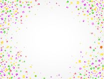 Carnival background with colorful confetti and space to put text in the middle. Many confetti of Carnival party on white background with space to put text in the Royalty Free Stock Photos