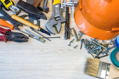 Many construction tools, construction composition tool suitcase, Stock Photos