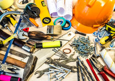 Many construction tools, construction composition tool suitcase, Royalty Free Stock Photos