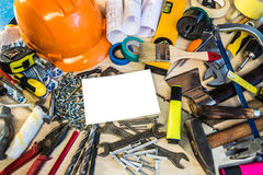 Many construction tools, construction composition tool suitcase, work plan, power tools, building. Stock Photos