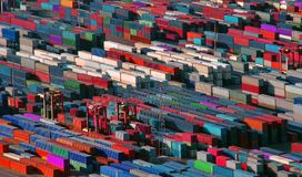 Many containers ready for shipping. Or transport, industrial photo stock photography