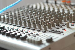 many control button for adjust volume tone of music amplifier Stock Photos