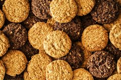 Many cookies stacked high angle view Stock Images