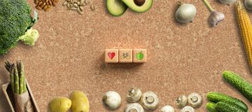 Many cooking ingredients on cork background