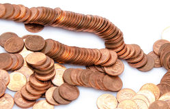Many copper coins Royalty Free Stock Photography