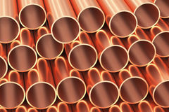 Many copper pipes industrial background. Metallurgical industry production and non-ferrous industrial products abstract illustration - many stainless metal shiny Royalty Free Stock Images