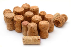 Many corks on the white background royalty free stock photos