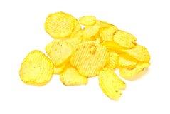 Many corrugated chips on white Stock Photo