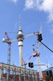 Many cranes against Auckland Sky tower Royalty Free Stock Photography