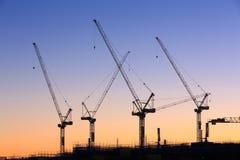 Many cranes at Australian construction site Stock Photos