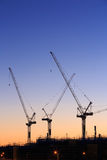 Many cranes at Australian construction site Stock Photography