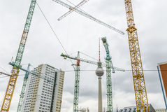 Many cranes in Berlin downtown Stock Image