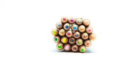 Many crayon in white. Lots of colorful crayons.It's very beautiful stock photo