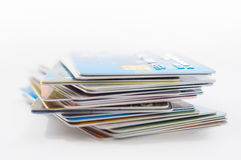 Many Credit Cards. A pile of several colored credit cards Royalty Free Stock Photography