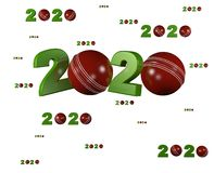 Many Cricket ball 2020 Designs with many Balls. On a White Background stock illustration