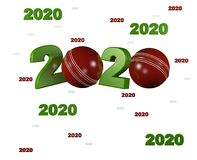 Many Cricket ball 2020 Designs. With a White Background stock illustration