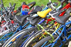 Many cross bike racing and put one over the other Stock Image