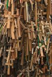 Many crosses. Thousands of crosses and rosaries mark individual demonstrations of faith at the Hill of Crosses in Western Lithuania Stock Photo