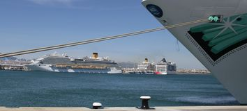 Cruise ships on moors in palma de mallorcas port wide royalty free stock photos