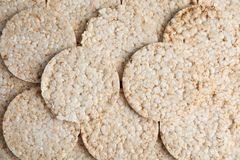 Many crunchy rice cakes as background. Top view royalty free stock image