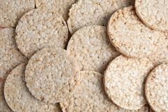 Many crunchy rice cakes as background. Top view royalty free stock photo
