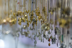 Many crystal pendant necklace hanging Royalty Free Stock Image