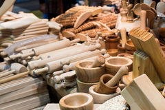 Many cups and bamboo rolling pins Stock Photo